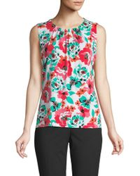 a7f015f8d Calvin Klein - Floral Pleat-neck Sleeveless Blouse - Lyst