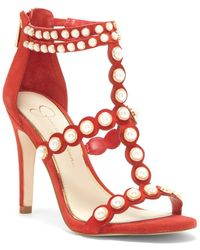 Jessica Simpson - Eleia Suede And Faux Pearl Sandals - Lyst