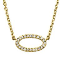 Lord & Taylor - 14kt. Yellow Gold And Diamond Oval Pendant Necklace - Lyst