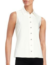 Tommy Hilfiger - Button-down Sleeveless Blouse - Lyst