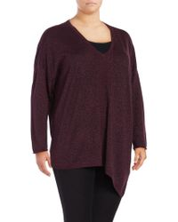 NYDJ - Plus Metallic V-neck Asymmetrical Jumper - Lyst