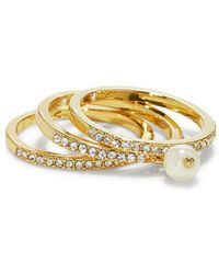 Vince Camuto - Faux Pearl & Crystal Stackable Ring - Lyst