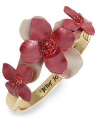Betsey Johnson - Floral Hinged Bangle Bracelet - Lyst