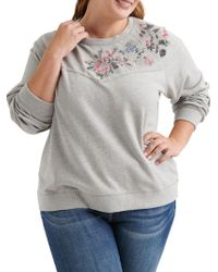 Lucky Brand - Plus Embroidered Floral Top - Lyst