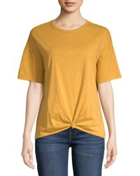 Vero Moda - Short-sleeve Knotted Cotton Tee - Lyst