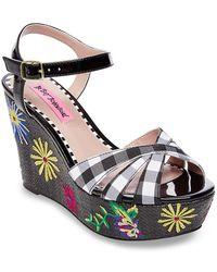 Betsey Johnson - Traci Embroidered Platform Wedge Sandal - Lyst