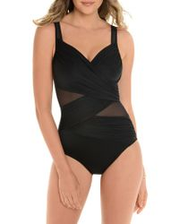 528af5d2a6b Miraclesuit Feline Fixation Madero One Piece Swimsuit in Black - Lyst