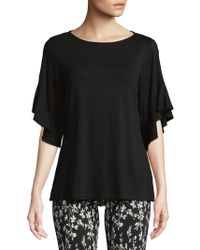 Isaac Mizrahi New York - Bateau Neck Ruffled Quarter-sleeve Top - Lyst