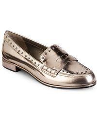 Donna Karan - York Metallic Patent Leather Loafers - Lyst