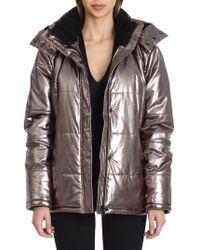 Avec Les Filles - Coated Faux Fur Puffer Jacket - Lyst