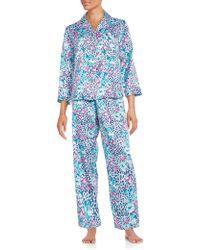Miss Elaine - Floral And Leopard-print Charmeuse Pyjama Set - Lyst