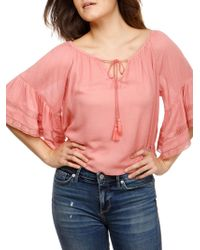 Lucky Brand - Bell-sleeve Self-tie Top - Lyst