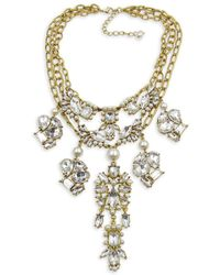 Belle By Badgley Mischka - Crystal And Faux Pearl Statement Necklace - Lyst