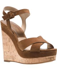 Michael Kors - Cate Leather Platform Wedge Sandals - Lyst