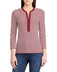 Lauren by Ralph Lauren - Plus Striped Three-quarter Sleeve Top - Lyst