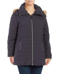 Andrew Marc - Plus Tobi Faux Fur-trimmed Pyramid Down Jacket - Lyst