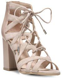 Franco Sarto - Meena Lace-up Front Block Heel Sandals - Lyst