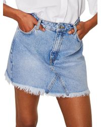 Mango - Frayed Hem Denim Mini Skirt - Lyst