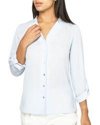 Dorothy Perkins - Pleated Roll-sleeve Shirt - Lyst