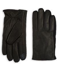 Calvin Klein - Leather-suede Contrast Gloves - Lyst