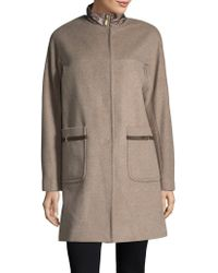 Ellen Tracy - Wool Blend Topper Coat - Lyst