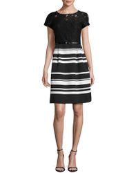 Ellen Tracy - Short Sleeve Striped And Lace Fit-&-flare Dress - Lyst