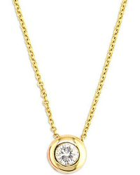 Effy - D Oro 14 Kt Gold Diamond Bezel Pendant Necklace - Lyst