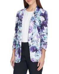 Tahari - Ruched-sleeve Floral Shawl Jacket - Lyst