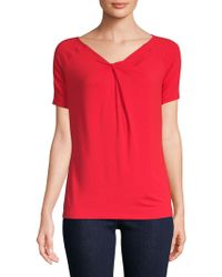d92888b74a5ef Lord   Taylor - Short-sleeve Iconic Fit Twist-neck Tee - Lyst