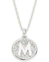 Swarovski - Clear Pavé Crystal Medallion Letter Pendant Necklace - Lyst