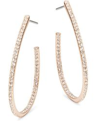 Nadri - Rose Goldtone Pave J Hoop Earrings - Lyst