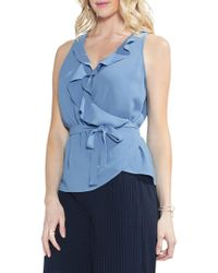 Vince Camuto - Sleeveless Ruffle Wrap Top - Lyst