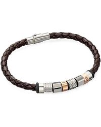 Fred Bennett - Leather And Stainless Steel Bracelet - Lyst