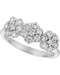 Morris & David - Diamond And 14k White Gold Floral Ring - Lyst