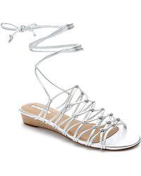 Tahari - Caper Leather Demi-wedge Sandals - Lyst