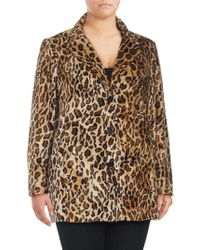Lord & Taylor - Plus Faux Fur Leopard Printed Jacket - Lyst
