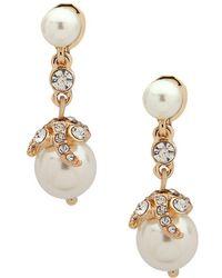 Anne Klein - Crystals & Faux Pearls Dangle Earrings - Lyst