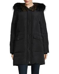 Kenneth Cole - Down Parka With Faux Fur Trim - Lyst