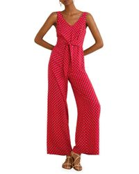 Mango - Printed Bow Long Jumpsuit - Lyst