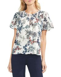 Vince Camuto - Sapphire Blossom Smocked Blouse - Lyst