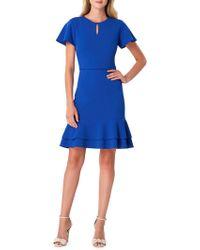Tahari - Short Sleeve Ruffled Crepe Dress - Lyst