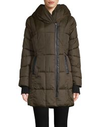 French Connection - Hooded Quilted Coat - Lyst