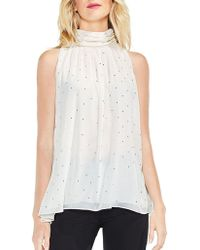 Vince Camuto - Print Shirred Neck Halter Blouse - Lyst