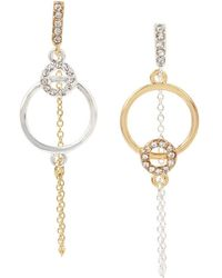 BCBGeneration Hyperlinks Two-tone & Crystal Mismatched Linear Drop Earrings