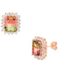 Lord + Taylor - Watermelon Crystal Emerald-shaped Halo Stud Earrings - Lyst