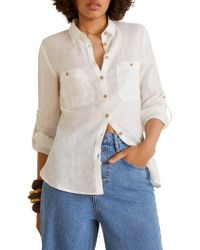 Mango - Linen Pocket Shirt - Lyst