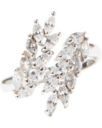 Vince Camuto - Silvertone & Crystal Ring - Lyst