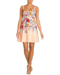 Guess - Floral Sweetheart Fit-&-flare Dress - Lyst