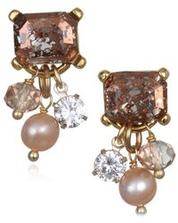 Badgley Mischka - 6-7mm Pink Pearl And Crystal Dangle Earrings - Lyst