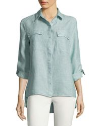 Jones New York - Hi-lo Linen Button-down Shirt - Lyst